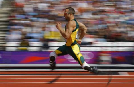 South Africa's Oscar Pistorius competes during round 1 of the men's 400m heats at the London 2012 Olympic Games at the Olympic Stadium August 4, 2012